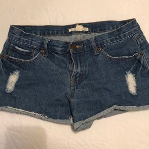 Denim shorts cutoff